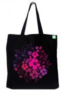 Bavlněná taška Pink Flowers černá